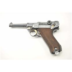1936 S/42 Mauser Luger semi-automatic pistol,  9mm caliber, Serial #7634.  The pistol is in  nearly