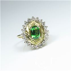 Gorgeous AAA Quality Extra Fine Tsavorite  Garnet and Diamond Ring featuring an approx.  1.00 carat