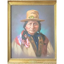 "Original oil painting on canvas of ""Sitting  Bull"" signed lower right ""Noel"" circa 1972.  Measures 2"