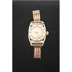 Rare Longines Wristwatch, 2 color 14K white &  rose gold, enamel bezel, circa late  1930's-early 194