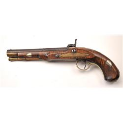 American Kentucky style pistol with a lock  signed C. Robbins (converted from flintlock  to percussi