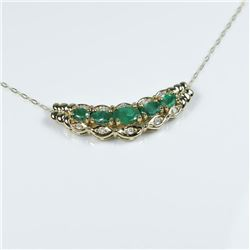 Elegant Emerald and Diamond Pendant featuring  5 oval cut Emeralds weighing approx. 2.00  carats tot