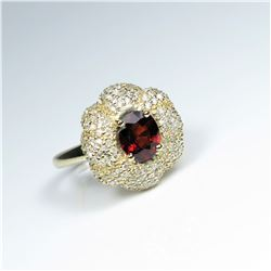 25. Stunningly Beautiful Extra Fine  Spessartite Garnet and Diamond Ring featuring  a rich red Garne