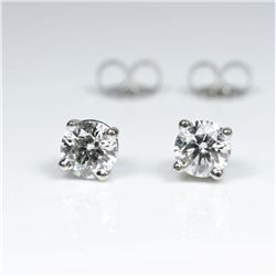 Dazzling ��IDEAL�� cut Diamond Stud Earrings  weighing approx. 0.85-0.90 carats with G-H  colors and V