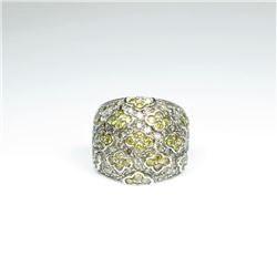 Designer Style Yellow Sapphire and Diamond  Ring featuring dome shaped design with  detailed mosaic