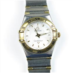 Luxury Ladies Omega Constellation Watch  crafted in 18 karat yellow gold and  contrasting stainless