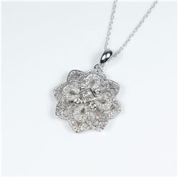 Beautiful Vintage style Diamond Pendant  featuring 4 Princess cut Diamonds accented  with 40 micro s