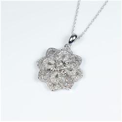 Beautiful Vintage style Diamond Pendant  featuring 4 Princess cut Diamonds accented  with 40 micro s