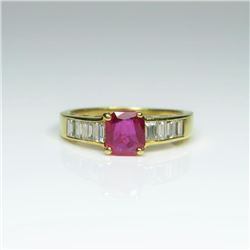Gorgeous Natural Ruby and Diamond Ring  weighing approx. 0.80 -1.00 carat accented  with 8 channel s