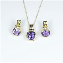Stylish Amethyst and Diamond Pendant and  Earring Ensemble featuring 3 checkerboard cut  Amethyst ac