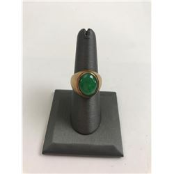 Men��s Gold and Apple Green Jadeite Jade ring  with a 5.9 carat cabochon stone set in 22K  yellow gol
