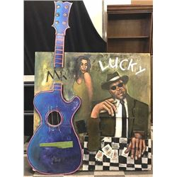 "Patterson & Barnes original mixed media on  board 3D construction piece ""Mr. Lucky""  featuring John"