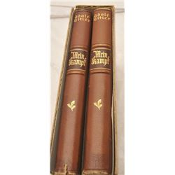 """Personal set (2 volume deluxe edition) """"Mein  Kampf"""" with documentation as being found by  Willbert"""
