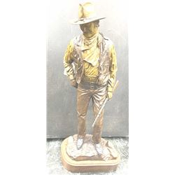 "Classic full figure bronze sculpture of ""John  Wayne American"" copyright 1979 by Bianchi  Frontier m"