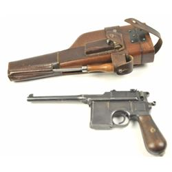 Mauser Model 1896 .30 caliber (7.65mm  Mauser), semi-automatic pistol with  stock-holster, leather c