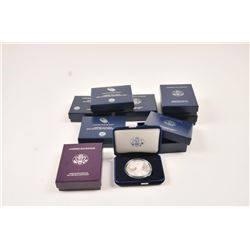 U.S. Mint silver dollar proofs in boxes.   Including:  1987, 1991, 2004, 2005, 2007,  2008, 2013, 20