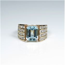 Exquisite Fine Santa Maria Aquamarine and  White Diamond Ring featuring an emerald cut  Aquamarine w