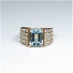 Exquisite Fine Santa Maria Aquamarine and  White Diamond Ring featuring an emerald cut  Aquamarine w