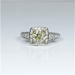 Beautiful Fancy Yellow and White Diamond Ring  featuring a ��IDEAL�� cut light Fancy Yellow  Diamond w