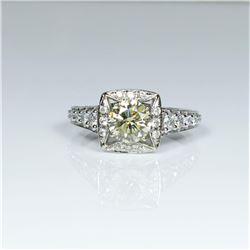 Beautiful Fancy Yellow and White Diamond Ring  featuring a 'IDEAL' cut light Fancy Yellow  Diamond w
