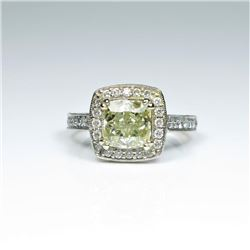 Exquisite Fancy Yellow and White Diamond Ring  featuring a square brilliant cut Fancy  Yellow Diamon