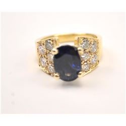 One fine sapphire and diamond ring containing  an oval sapphire weighing 4.11ct and  10diamonds weig