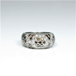 Exquisite Platinum White and Chocolate  Diamond Ring featuring 26 pave set 'IDEAL'  cut white Diamon