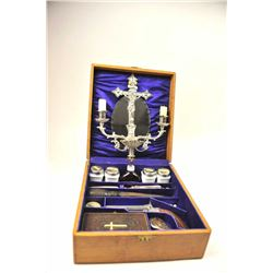 Antique Vampire kit in wooden case, including  a crucifix with two candles and a holy water  font wh