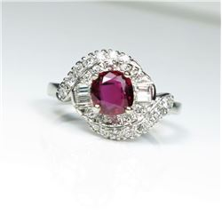 Exceptional Vintage Ruby and Diamond Ring  featuring a 1.15 carat Extra Fine Ruby with VS clarity se