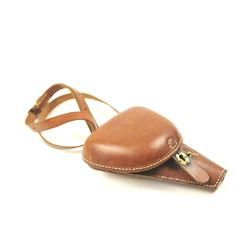 Excellent reproduction clamshell style  leather holster for a Baby Nambu pistol.  The  holster was m