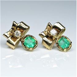 Gorgeous Vintage Emerald and Diamond Earrings  featuring two matching Colombian Emeralds  weighing a
