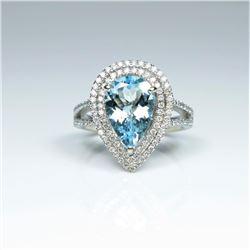 Glamourous Santa Maria Blue Aquamarine and  Diamond Ring featuring a pear shaped  Aquamarine weighin