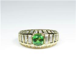 Striking AAA Quality Fine Green Tsavorite  Garnet and Diamond Ring featuring a 1.00  carat Tsavorite