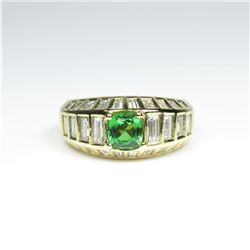 Striking AAA Quality Fine Green Tsavorite  Garnet and Diamond Ring featuring a 1.00  carat Tsavorite