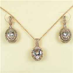 Beautiful Morganite and Diamond Pendant and  Earring Ensemble featuring 3 matching  Morganites accen