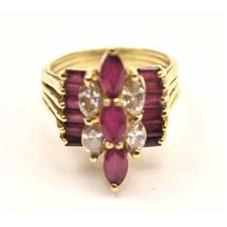 Stunning Ruby and diamond 14K yellow gold  cocktail ring with nice marquise cut ruby and  diamond ce