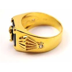 Unique men's gold ring with side diamonds.   The ring has parachute emblems on both sides  and set a
