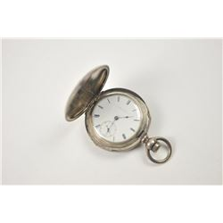 Large hunting case pocket watch with American  Waltham movement, key wind, Serial #610903.   The wat