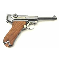 9mm Luger by DWM, S/N 2166 showing excellent  old German factory quality refinish with  Siamese proo