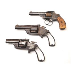 Lot of 3 antique relic Smith & Wesson  revolvers.  2 .38 caliber single actions  which are missing p