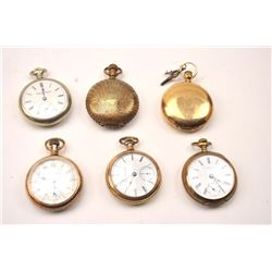 Lot of six antique pocket watches from a  collector's estate.  The watches are by  various makers, a