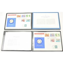 Lot of two first day cover stamps with Silver  Dollar proof coins commemorating the XXIII  Olympiad