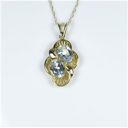 Bright Contemporary Aquamarine Pendant  featuring 2 oval cut Aquamarines weighing  approx. 4.00 cara