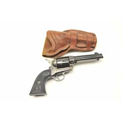 "Colt Single Action Army Revolver in .45 Colt  caliber with a 4 ¾"" barrel, blue and case  colored fin"