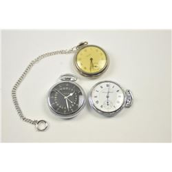 Lot of 3 pocket watches including:  a  Hamilton 22 jewel, U.S. Government marked  movement, #4992B w