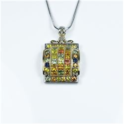 Colorful Rainbow Sapphire Pendant featuring  40 round cut Sapphires in blue, yellow, pink  and orang