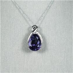 Elegant Pear Shape Amethyst and Diamond  Pendant featuring a richly colored Amethyst  weighing appro