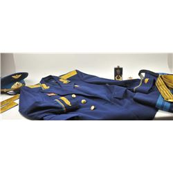Soviet Cold War Era Air Force Officer's dress  uniform with cap, pants, suspenders, ribbons  and fan