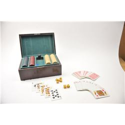 Vintage Gambler's wooden box with clay poker  chips, cards, dice and an 1870's Otis Smith  antique r