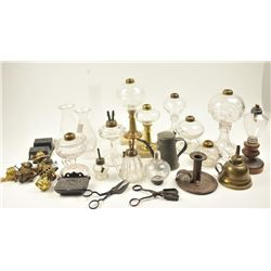 Lot of 19th century (whale) oil lamps and  accessories from the Colonial period to the  19th century